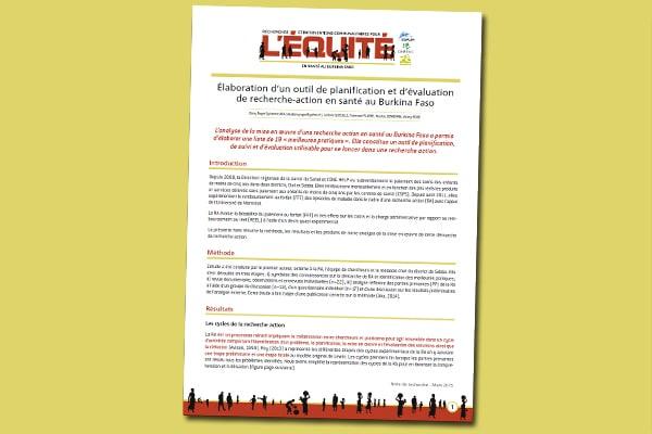 Élaboration d'un outil de planification et d'évaluation de recherche-action en santé au Burkina Faso