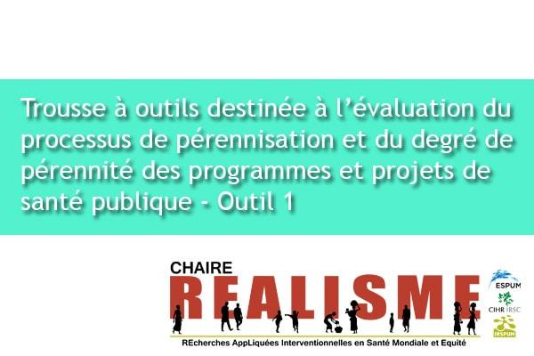 Trousse à outils destinée à l'évaluation du processus de pérennisation et du degré de pérennité des programmes et projets de santé publique  - Outil 1