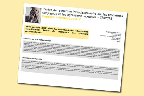Abus sexuels (CSA) dans les communautés autochtones canadiennes : Revue de littérature des constats contradictoires