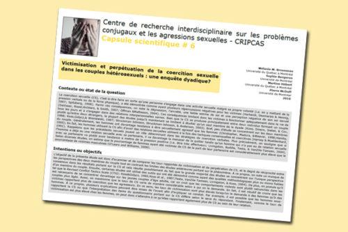 Victimisation et perpétuation de la coercition sexuelle dans les couples hétérosexuels : une enquête dyadique?