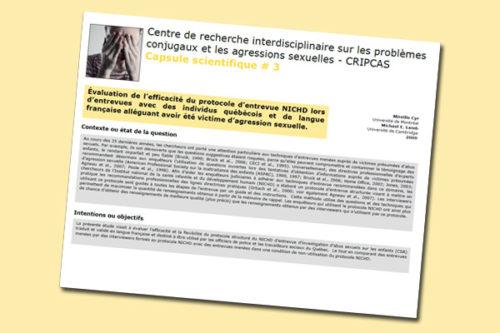 Évaluation de l'efficacité du protocole d'entrevue NICHD lors d'entrevues avec des individus québécois et de langue française alléguant avoir été victime d'agression sexuelle
