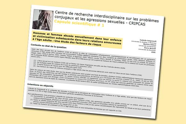 Hommes et femmes abusés sexuellement dans leur enfance et victimisation subséquente dans leurs relations amoureuses à l'âge adulte : Une étude des facteurs de risque