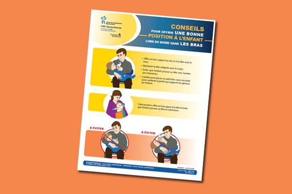 Conseils pour offrir une bonne position à l'enfant lors du boire dans les bras