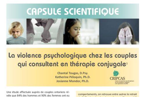 La violence psychologique chez les couples qui consultent en thérapie conjugale